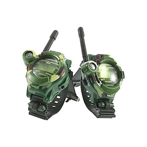Radioddity RD-W-2 1 Pair 7 in 1 Wrist Watch Walkie Talkies for Kids, Toy Spy Two-Way Radios Transceiver for Children, Easy to Use & Kids Friendly, 2 Pcs, Camouflage