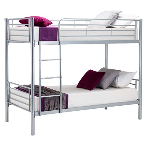 UEnjoy Bunk Beds Kids Beds Frame Metal for Adult and Children Silver