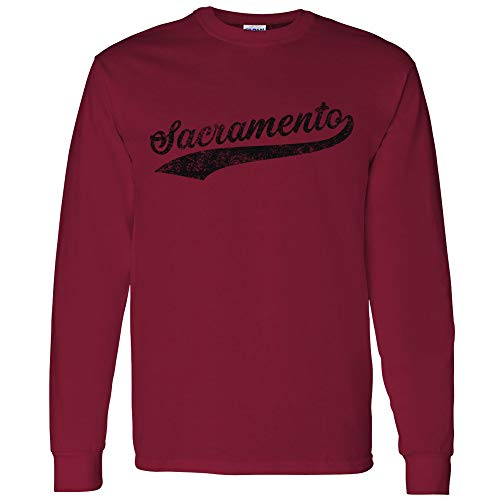 Sacramento Baseball Script - Hometown Pride, Pitcher Long Sleeve T Shirt - Large - Cardinal