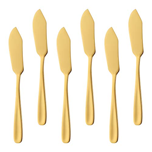 Bisda Stainless Steel Cheese Dessert Knives, Set of 6, Breakfast Butter Knife, Slicer Sandwich - Cheese Gold Knife