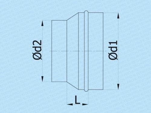 R/éduction du pli r/éducteur de r/éduction r/éduction du raccord de r/éduction sym/étrique /Ø 150 raccord /Ø 125