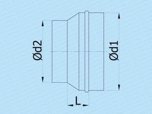 R/éduction du pli r/éducteur de r/éduction r/éduction r/éduction du syst/ème sym/étrique /Ø 200 Connecteur /Ø 100