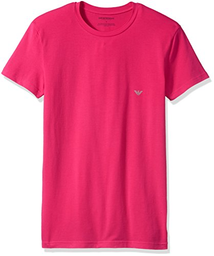 Emporio Armani Men's Silver Touch Eagle Crew Neck T-Shirt, Cyclamen Pink, Medium ()