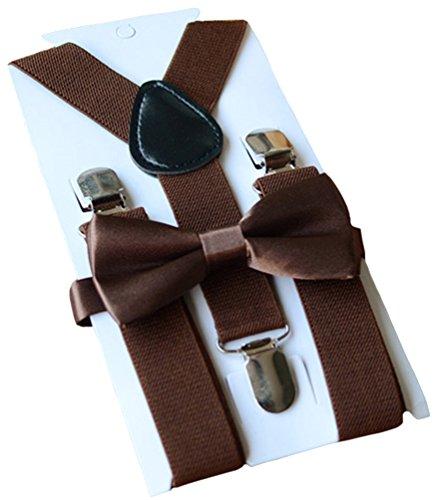 UDRES Unisex Kid Boys Girls Adjustable Bow tie & Suspender Sets (One Size, Brown)