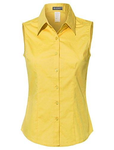 (LE3NO Womens Lightweight Cotton Sleeveless Button Down Shirt Yellow)