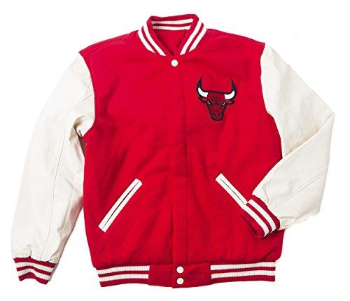 (JH Design Men's BUL953VRS6 Chicago Bulls Hooded Reversible Varsity Jacket - Red/Cream - S)