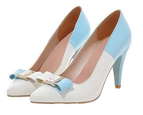 Ballet Colore Bianco AgooLar GMMDB006944 Tirare Assortito Tacco Donna Flats Alto BtwnwZ76Yq