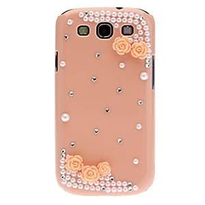 Diagonal cristalino rosado de la flor para Samsung Galaxy S3 i9300