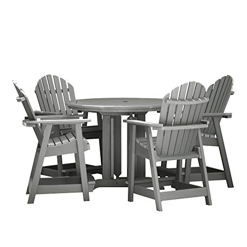 Highwood 5 Piece Hamilton Round Counter Height Dining Set, Coastal Teak