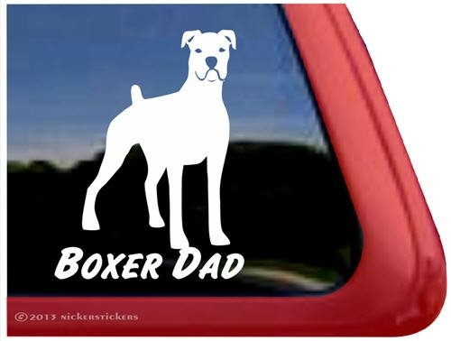 Boxer Dad White Window Sticker