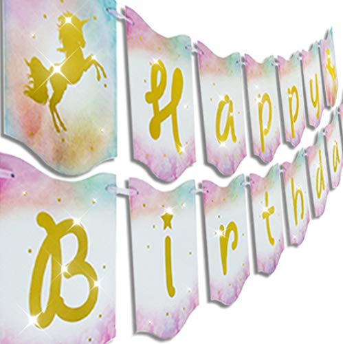 Happy Birthday Unicorn Banner Garland Pennants Supplies by Praity | Pre-Assembled | Gold Foil Letters, Ergonomic Hanging Strings | For Birthday Parties, Unicorn Theme Decoration, Girls Birthday Party