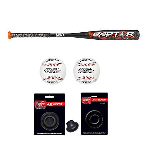Rawlings 2018 Raptor USA Youth Baseball Bat (28″/18 oz) and Bat Accessories – Includes Official League Baseballs, Doughnut Style Bat Weight and Bat Choke – Deluxe Bundle