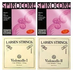 Cello Strings 4/4 Set Larsen Medium A+D, Spirocore Tungsten G+C