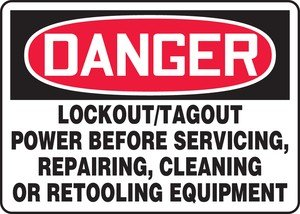 Accuform MLKT279XT Dura-Plastic Sign, Legend DANGER LOCKOUT/TAGOUT POWER BEFORE SERVICING, REPAIRING, CLEANING OR, 7'' Length x 10'' Width x 0.060'' Thickness, Red/Black on White by Accuform (Image #1)