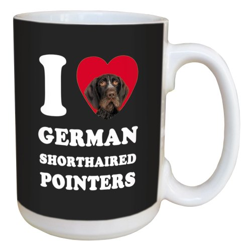 Tree Free Greetings LM45058 I Heart German Shorthaired Pointers Ceramic Mug with Full-Sized Handle, 15-Ounce, Brown