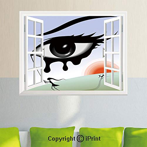 Wall Decor Stickers,Surreal Avant Garde Art Composition Girl Runs with Eye Stick Tears Sunset Dog Image Decorative,35.4X 23.6inch,Creative Window View Home DecorMulticolor