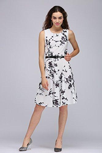 Babyonlinedress Vestido blanco del estampado floral estilo casual y elegante vestido vintage para fiesta de coctel fiesta de noche cuello redondo sin mangas con un cinturón fino Blanco