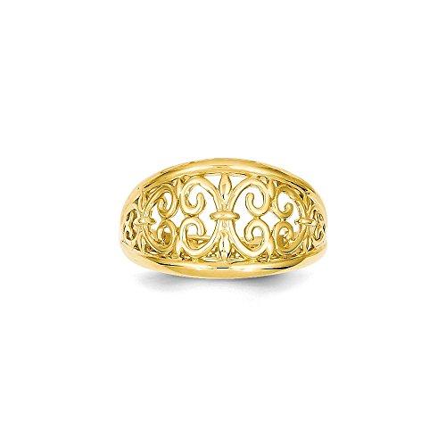 - Best Designer Jewelry 14K Fleur-De-Lis Tapered Ring