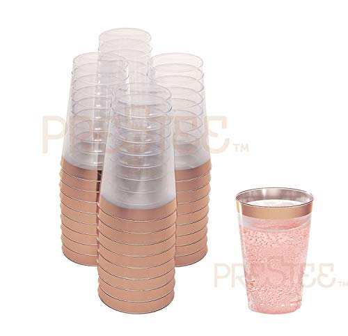 Rose Gold Plastic Cups | 12 oz. 50 Pack | Hard Clear Plastic Cups | Disposable Party Cups | Fancy Wedding Tumblers | Nice Rose Gold Rim Plastic Cups | Elegant Decoration Cups | Plastic Tumblers Bulk