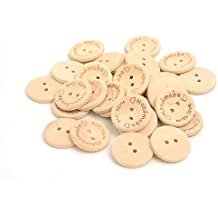 2B-better 15mm 20mm 25mm Handmade With Love Natural Wood Sewing Button (50pcs/pack) (20mm)