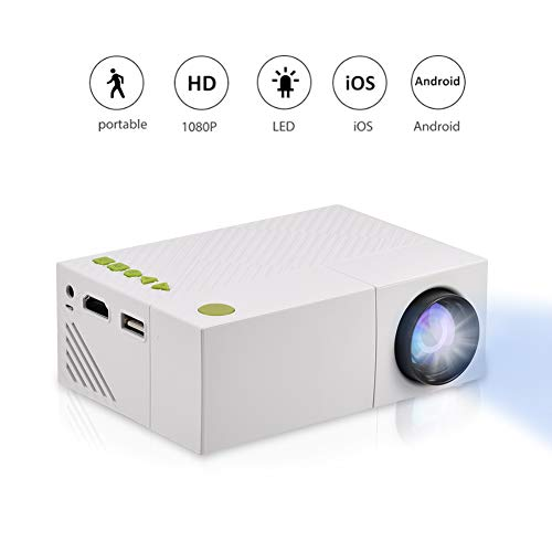 Fosa Mini Projector Portable 1080P LED Projector for iPhone Android Smartphone HDMI Devices Home Cinema Theater Great Gift Pocket Video Projector for Party Game and Outside Camping ()