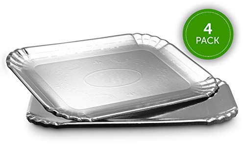 Plasticpro Rectangular Silver Board Serving Trays - Serving Platters Rectangle 9X13 Disposable Party Dish Silver, Pack of 4