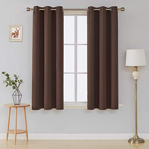 Deconovo Room Darkening Thermal Insulated Grommet Top Blackout Window Curtains Pair for Living Room Chocolate ()