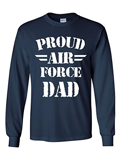 Father Long Sleeve T-shirt (Proud Air Force Dad Long Sleeve T-Shirt Father's Day Military Patriotic Tee Navy Blue XL)