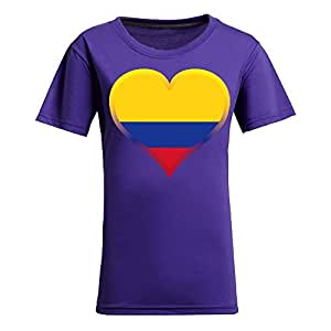Brasil 2014 FIFA World Cup Theme Short Sleeve T-shirt,Football Background Womens Cotton shirts for Fans Purple by icecream design