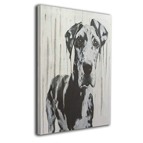 Hobson Reginald Large Black and White Harlequin Great Dane, Dripped, Drippy Canvas Wall Art Paintings Stretched and Framed Ready to Hang 16x20inch