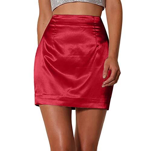 nikunLONG Women Ladies Fashion Solid Sexy Satin Smooth Zipper Skirt Summer Party Club Skirt Dress Red ()