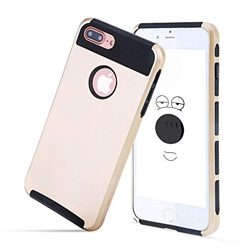 Compatible with iPhone 7/8 Plus Case, Heavy Duty Slim Shockproof Drop Protection 2 in 1 Hybrid Hard PC Covers Soft Rubber Bumper Protective Anti Slip Case for iPhone 8 Plus / 7 Plus - Gold
