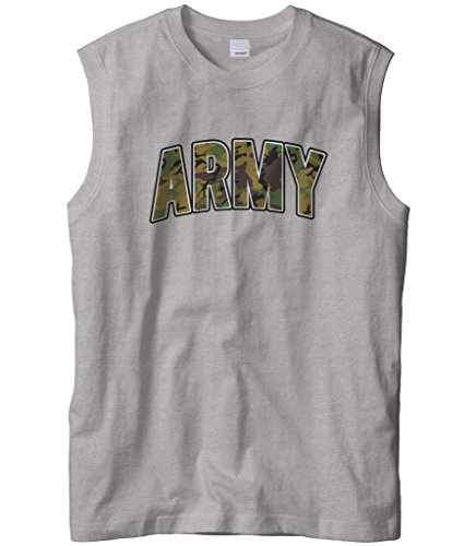 Cybertela Men's Classic Camouflage Army Sleeveless T-Shirt (Light Gray, X-Large)