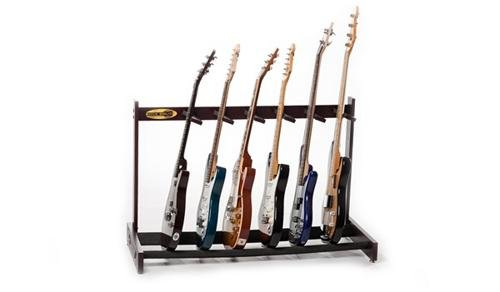 Guitar Stand Nitrocellulose - Rock Solid Guitar Stands The Classic Solid Mahogany 6 Multi Guitar Stand, Dark Cherry