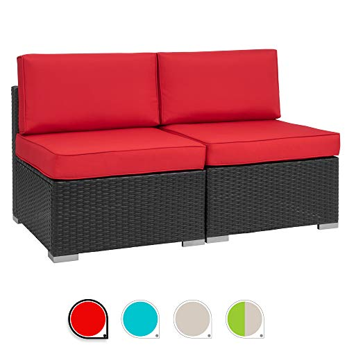 Walsunny 2pcs Patio Outdoor Furniture Sets,Low Back All-Weather Rattan Sectional Sofa with Washable Couch Cushions (Black Rattan) (Loveseats Red)