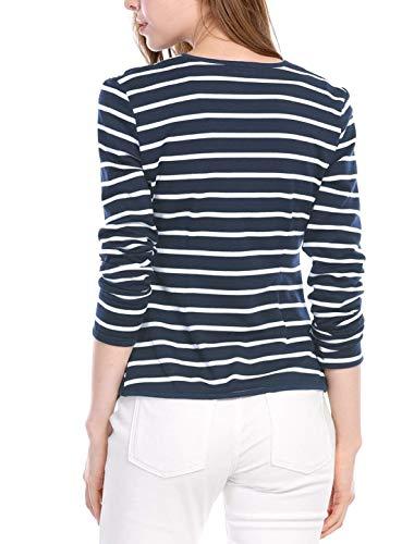 Slim Women Giovane Donna Leggero Lunga Giacca Moda Outerwear Giaccone Casual Primaverile Classiche Cappotto Manica Blackwhite Stripe Cardigan Eleganti Autunno Fit WU6YRw6q