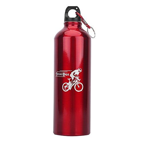 Bidon Vélos Gourde Bicyclettes Bouteille d'Eau Sports 750ML en Alliage d'Aluminium avec Boucle Mousqueton Léger Portable pour Cyclisme Randonnée Pédestre