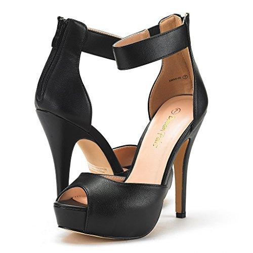 Heel Shoes Black PAIRS High Women's Swan Dress Pu Plaform DREAM Pump PI68fqx6