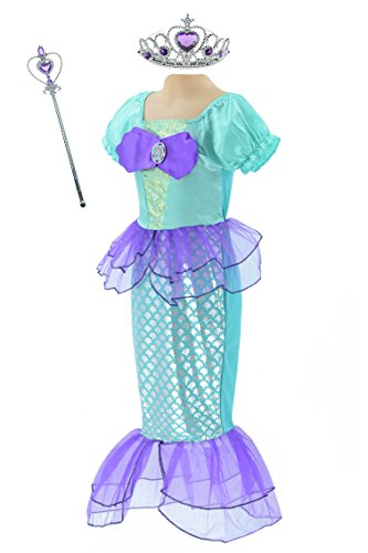 Little Mermaid Dress Up Ariel Prom Clothes for Little Girls Party Costume with Crown Mace Purple and Green (The Little Mermaid Costume Dress)