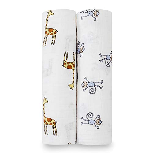 aden + anais Classic Swaddle Baby Blanket, 100% Cotton Muslin, Large 47 X 47 inch, 2 Pack, Jungle Jam
