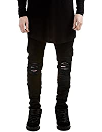 Men's Distressed Jeans Casual Solid Straight Leg Stretch Skinny Ripped Jeans