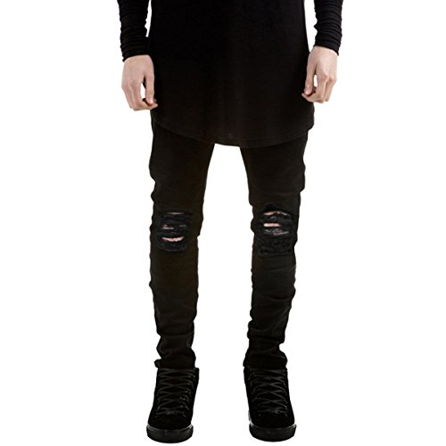 Pishon Men's Distressed Jeans Casual Solid Straight Leg Stretch Skinny Ripped Jeans, Black, Tag Size 31=US Size 32 (Black Jeans With Holes In Knees Mens)