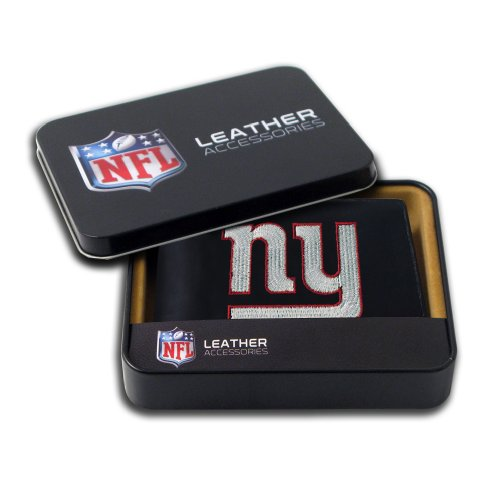 New York Giants Wallet - Rico Industries NFL New York Giants Embroidered Leather Billfold Wallet