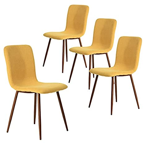 Coavas Set of 4 Dining Chairs Fabric Cushion Kitchen Side Chairs with Sturdy Metal Legs for Dining Room, Yellow 1