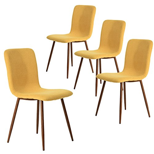 Set Leg Dining Room (Coavas Set of 4 Dining Chairs Kitchen Fabric Cushion Side Chairs with Sturdy Metal Legs for Dining Living Room Table, Yellow)