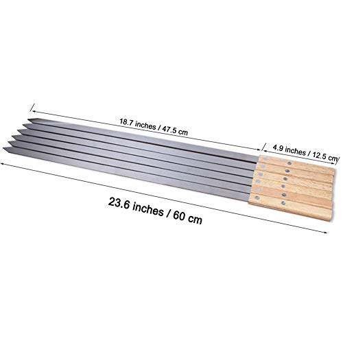 Goutime 23 X 5/8 Inch Stainless Steel Shish Kabob Skewers with Bag, Set of 6