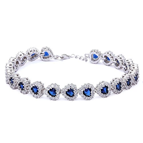 Cubic Zirconia & Simulated Blue Sapphire Heart .925 Sterling Silver Bracelet ()