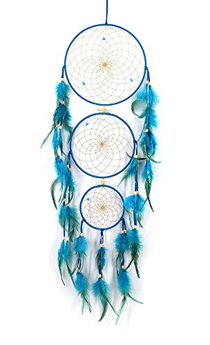 "Three Rings Handmade Net Wall Hanging Ornament Decorations for Kids Girls Home Bedroom Car, 30"" Long (Turquoise)"