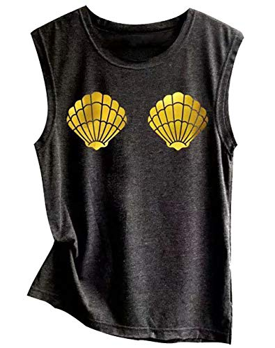 (Mermaid Shell Tank Top for Women Seashell Casual Sleeveless Vacation Vest Tee Shirts Size Large)