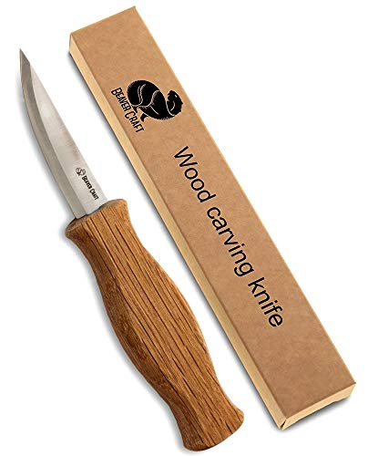 Roughing Knife - Wood Carving Sloyd Knife for Whittling and Roughing for Beginners and Profi - Durable High Carbon Steel - Spoon Carving Tools - Thin Wood Working (Whittling Knife)